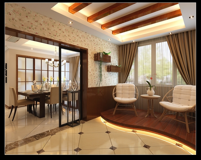 一半的客厅做地台